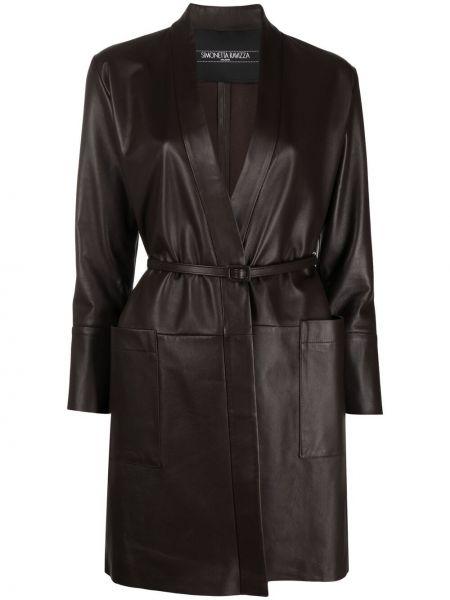 Коричневое кожаное длинное пальто с запахом Simonetta Ravizza