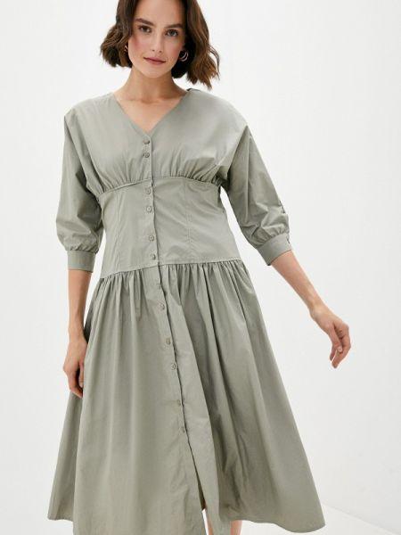 Прямое платье хаки B.style
