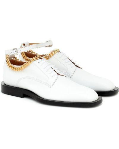 Z paskiem biały skórzany buty brogsy na paskach Jil Sander