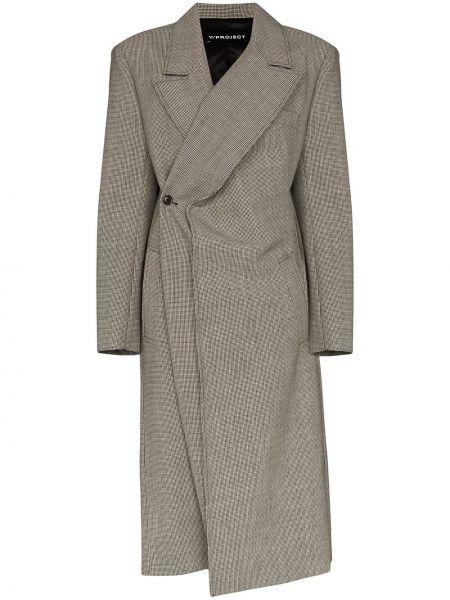 Шерстяное черное длинное пальто с капюшоном Y/project