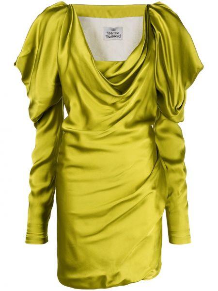 Jedwab z rękawami zielony sukienka mini z falbankami Vivienne Westwood