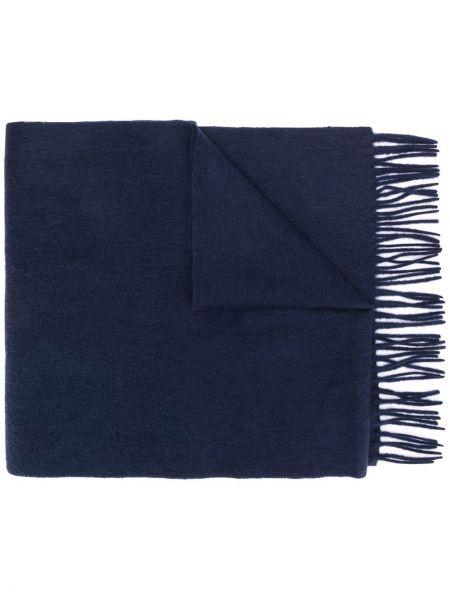 Синий шарф вязаный с бахромой Tommy Hilfiger