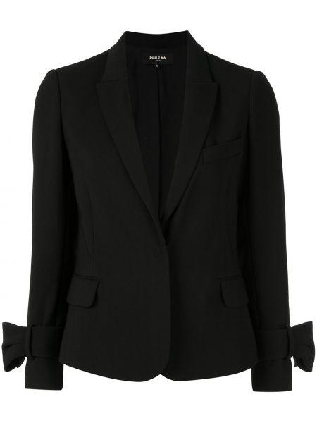 Черный приталенный пиджак с карманами Paule Ka