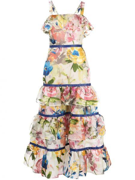 Шелковое платье без рукавов квадратное Marchesa