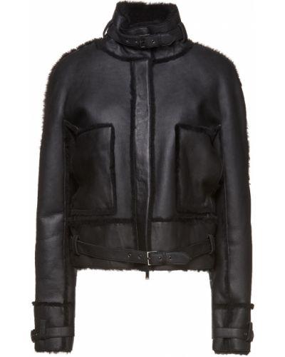 Текстильная черная куртка с поясом Lanvin