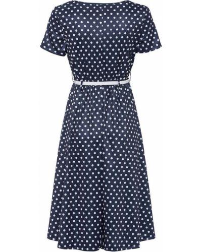 Трикотажное платье в горошек с короткими рукавами Bonprix