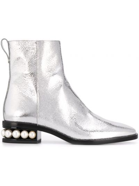 Srebro buty na pięcie z prawdziwej skóry z perłami niskie obcasy Nicholas Kirkwood
