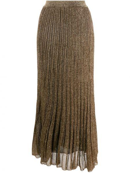 Шелковая плиссированная юбка миди с поясом Missoni