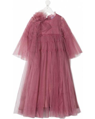 Фиолетовое платье с рукавами из фатина круглое с круглым вырезом Raspberry Plum