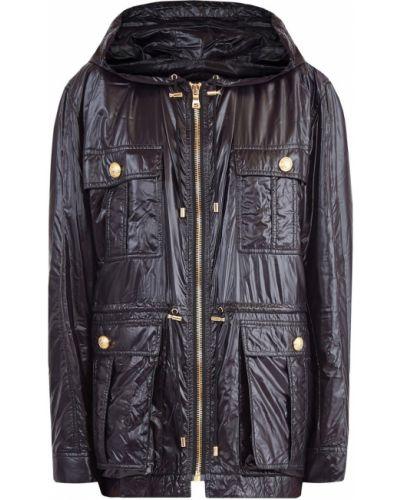Куртка с капюшоном черная на молнии Balmain