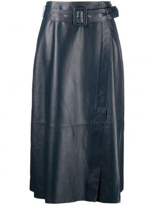Синяя с завышенной талией кожаная юбка Arma
