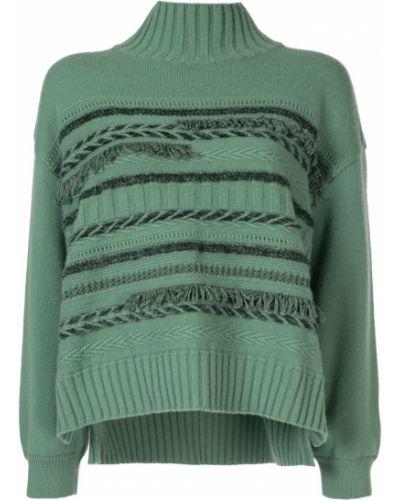 Зеленый вязаный вязаный джемпер с бахромой с высоким воротником Coohem
