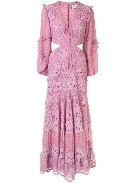 Платье розовое в горошек Alexis