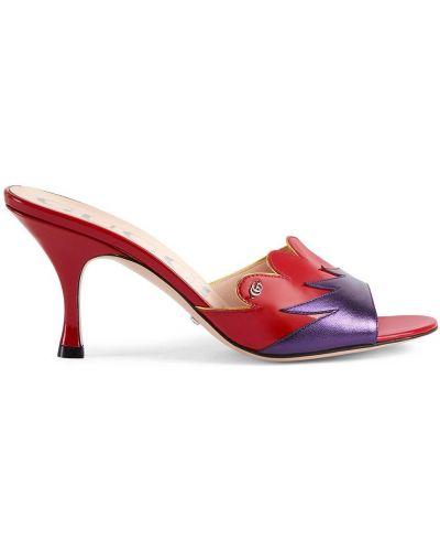 Sandały skórzane na obcasie - fioletowe Gucci