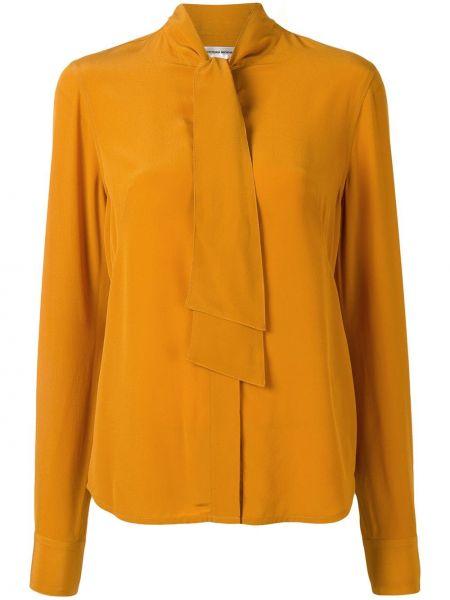 Шелковая желтая блузка с длинным рукавом с бантом на пуговицах Victoria Beckham
