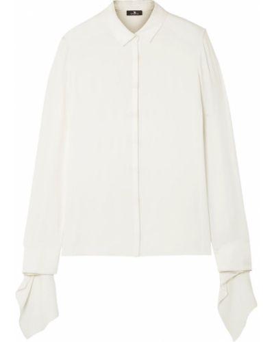 Biała koszula z jedwabiu zapinane na guziki Akris