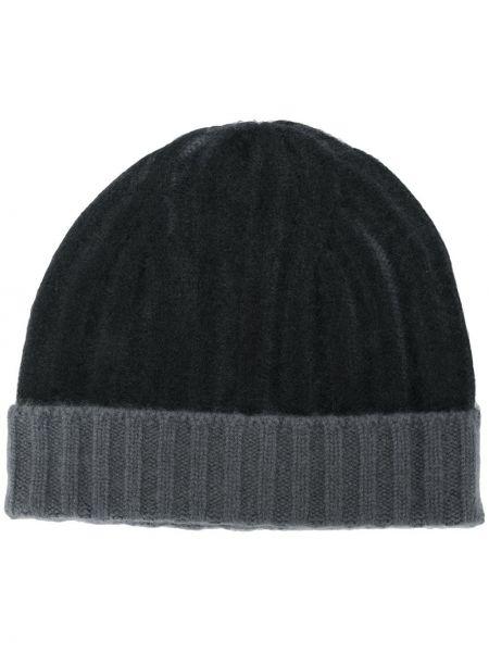 Кашемировая черная теплая шапка бини с отворотом Warm-me