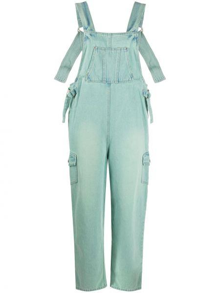 Хлопковые прямые джинсы с карманами с заплатками мятные Sjyp