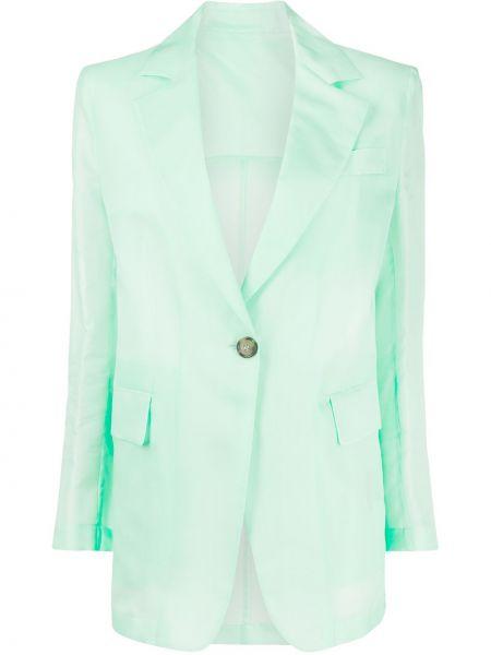 Шелковый однобортный удлиненный пиджак с карманами Msgm
