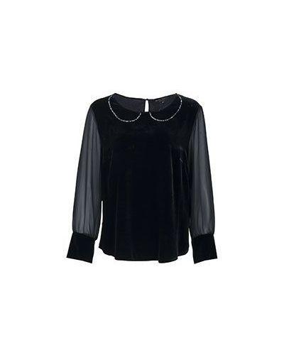 Черная блузка бархатная Elisa Fanti