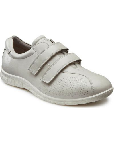 Кожаные кроссовки на липучках текстильные Ecco