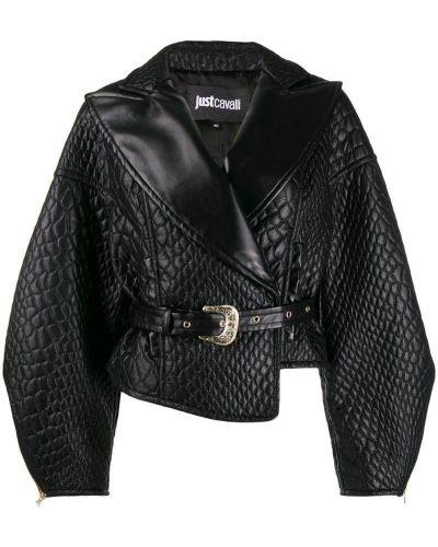 Кожаная куртка черная стеганая Just Cavalli