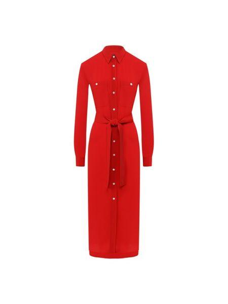 Платье с поясом платье-рубашка шелковое Polo Ralph Lauren