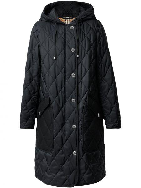 Хлопковое черное длинное пальто с капюшоном Burberry