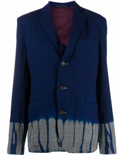 Шерстяной синий удлиненный пиджак на пуговицах Suzusan