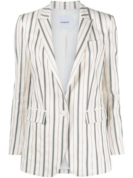 Белый удлиненный пиджак для полных в полоску Dondup