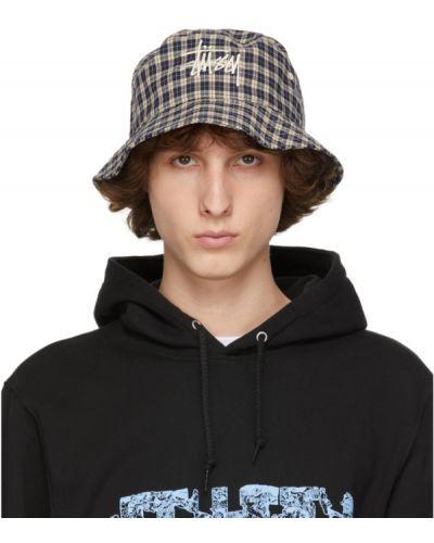 Czarny kapelusz z haftem w kratę Stussy