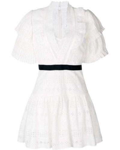 Платье мини с V-образным вырезом с поясом Self-portrait