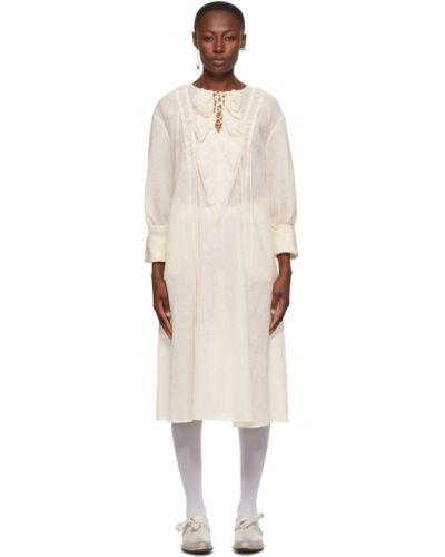 Ажурное платье макси с длинными рукавами на шнуровке с воротником Renli Su