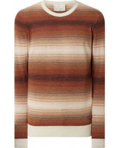 Pomarańczowy sweter w paski bawełniany Baldessarini