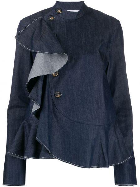 Синяя джинсовая рубашка на пуговицах с запахом с разрезом Milla Milla