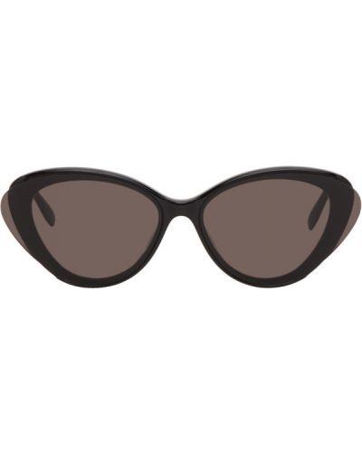 Кожаные черные солнцезащитные очки с тиснением Alexander Mcqueen