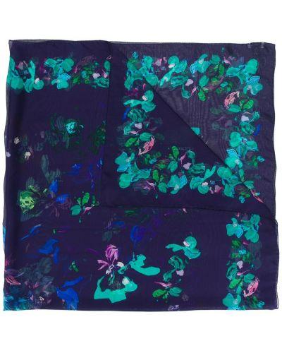 Синий шарф с цветочным принтом Emanuel Ungaro