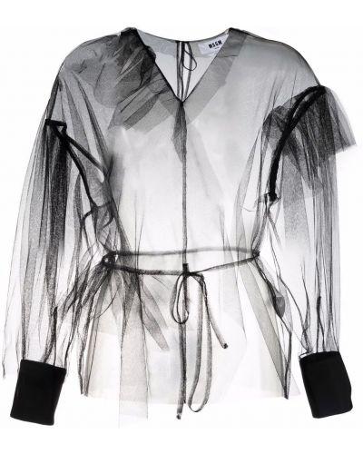 Черная блузка с вырезом Msgm