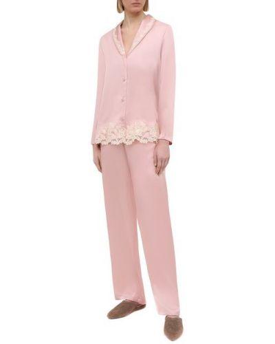 Пижамная розовая шелковая пижама La Perla