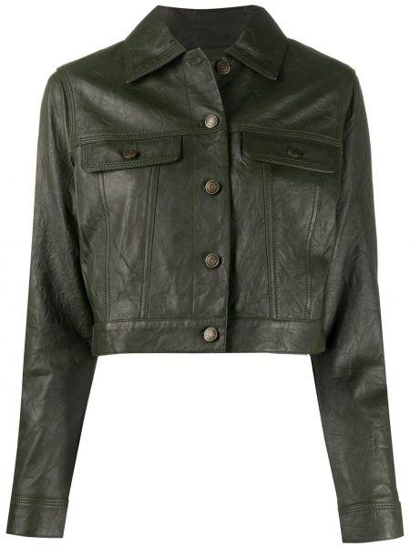 Кожаная куртка длинная на пуговицах Michael Michael Kors