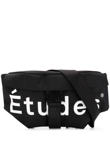 Czarna torebka z nylonu z printem Etudes