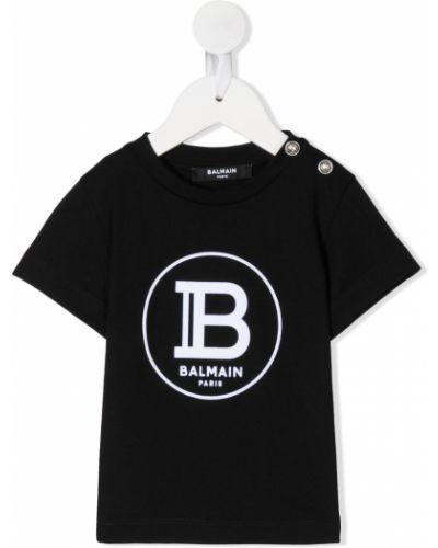 Белая рубашка с короткими рукавами круглая Balmain Kids