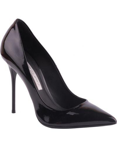 Туфли на каблуке кожаные черные Gianmarco Lorenzi