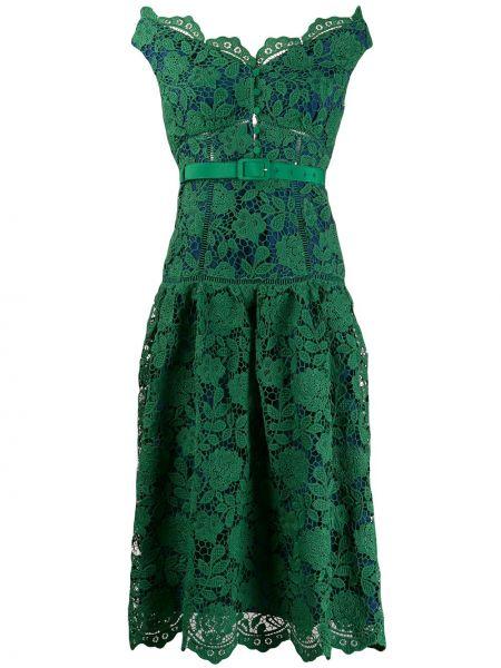 Зеленое платье миди на молнии с вырезом с открытыми плечами Self-portrait