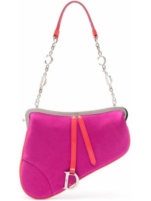 Różowa torebka na łańcuszku srebrna Christian Dior