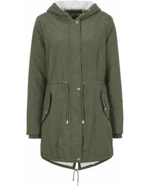 Куртка с капюшоном плюшевая зеленая Bonprix