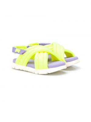 Открытые желтые сандалии на липучках Camper