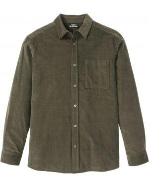 Рубашка с длинным рукавом вельветовая черная Bonprix