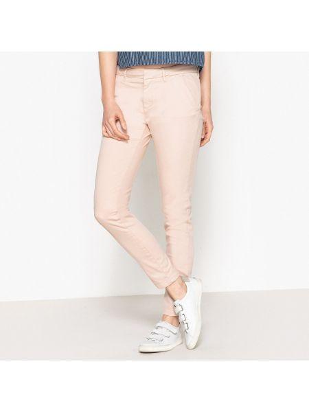 Базовые хлопковые розовые брюки с карманами Reiko