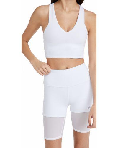 Biały biustonosz z nylonu Alo Yoga